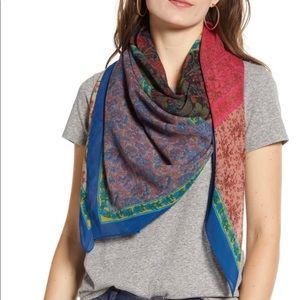 FRYE square multicolored paisley scarf